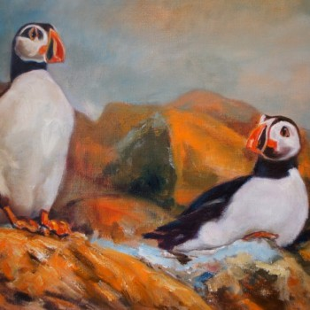 Puffins- Isle of Harris, Western Isles, Scotland, olieverf op linen. Papegaaiduikers Isle of Harris Outer Hebrides Scotland, United Kingdom, oil on linnen