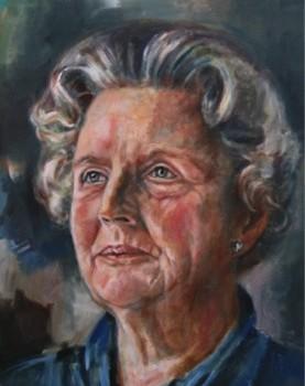 Queen Juliana of the NL, Royal Portrait Oil on Linen. Koningin Juliana der Nederlanden, portret in olieverf op linnen