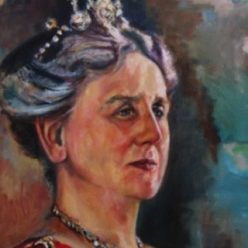 Queen Wilhelmina of the Netherlands, portrait in oil on linen. Koningin Wilhelmina der Nederlanden, olieverf portret op linnen