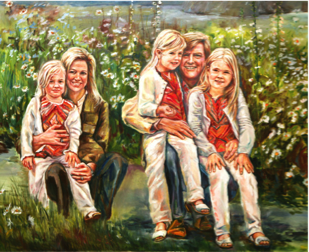 Royal Dutch Family, King Willem Alexander and Queen Maxima and their daughters princesses Amalia, Alexia and Princes Ariane. Koninklijk gezin, koning Willem Alexander, koningin Maxima en de prinsessen Catharina -Amalia, Prinses van Oranje en haar zusjes Prinses Alexia en Prinses Ariane, groot olieverf op linnen