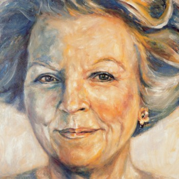 Queen Beatrix, now Princess Beatrix of the Netherlands, portrait in oil on linen. Koningin Beatrix van Oranje Nassau, nu Prinses Beatrix, olieverfportret op linnen