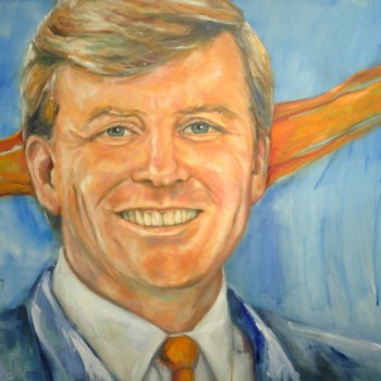 King Willem-Alexander der Nederlanden, Portrait in oil on linen. Koning Willem-Alexander of the Netherlands, Koningsportret in olieverf op linnen
